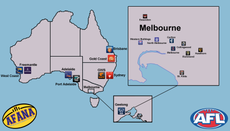 Locations of AFL clubs around Australia - click for full size image