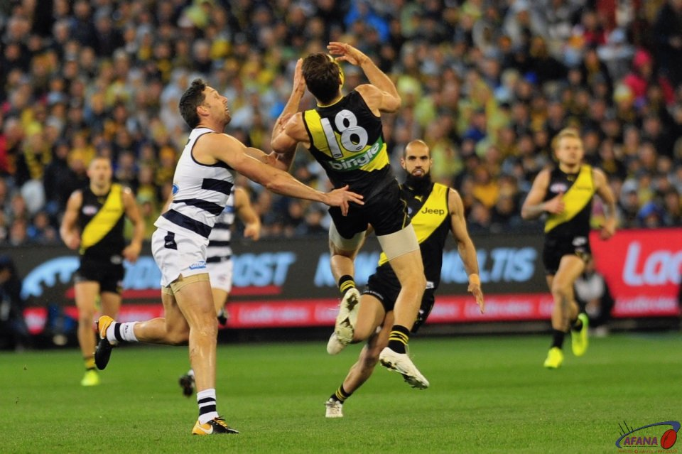 Alex Rance and Harry Taylor battled all game