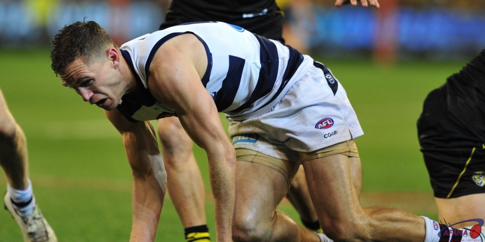 Selwood grimaces as the Tiger onsluaght continues