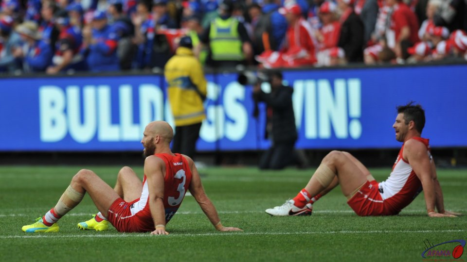 McVeigh and Heath Grundy ponder the loss to the Dogs