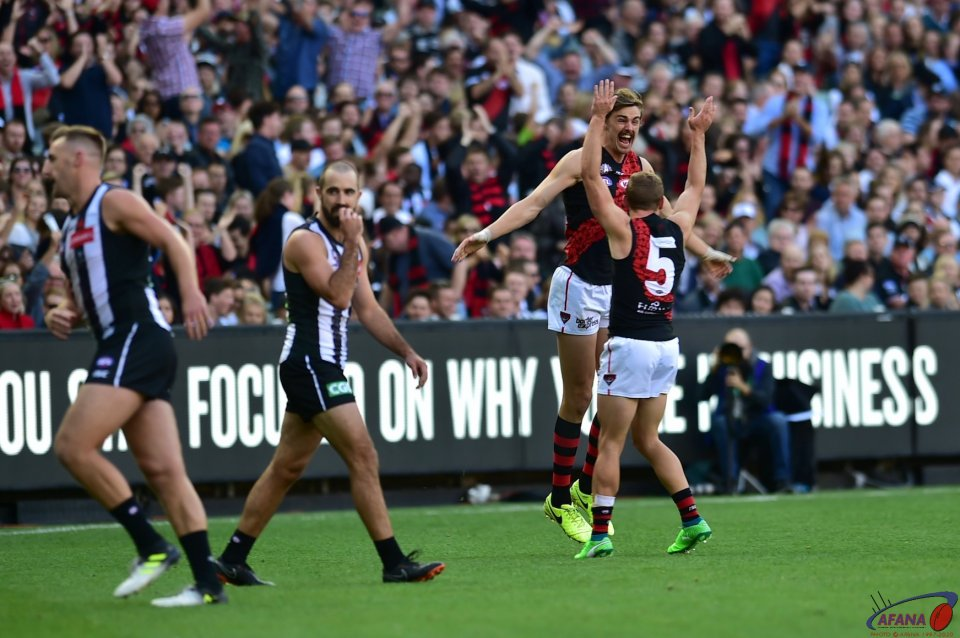 Joe Daniher celebrates the opening goal