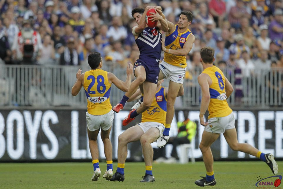 AFL Fremantle v West Coast, 2018 Optus Stadium.