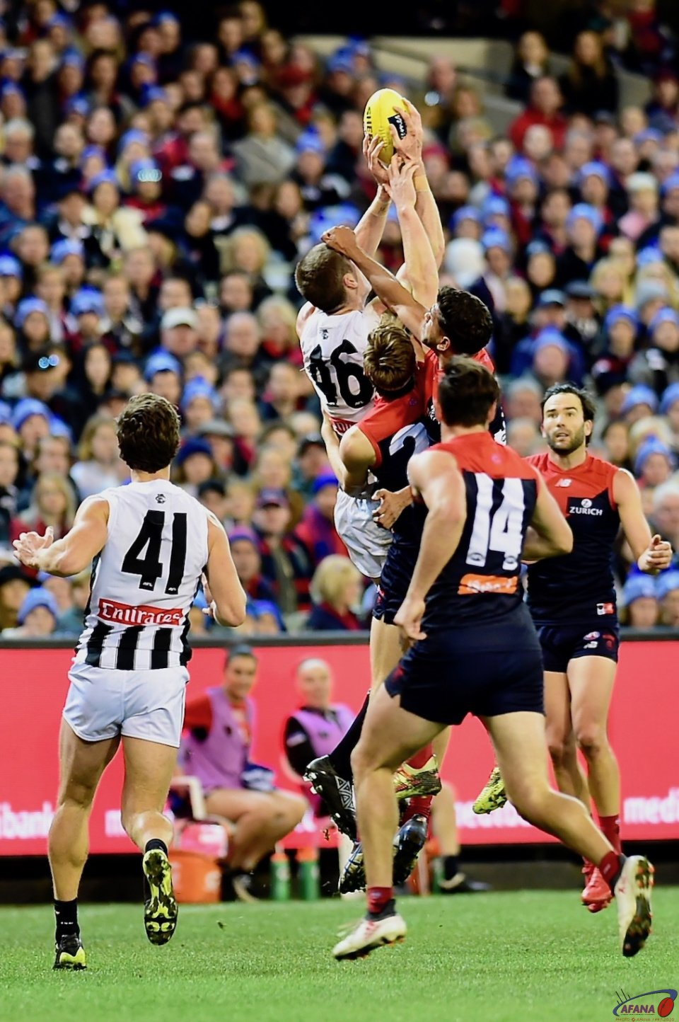 Mason Cox outreaches the Dees in a marking contest