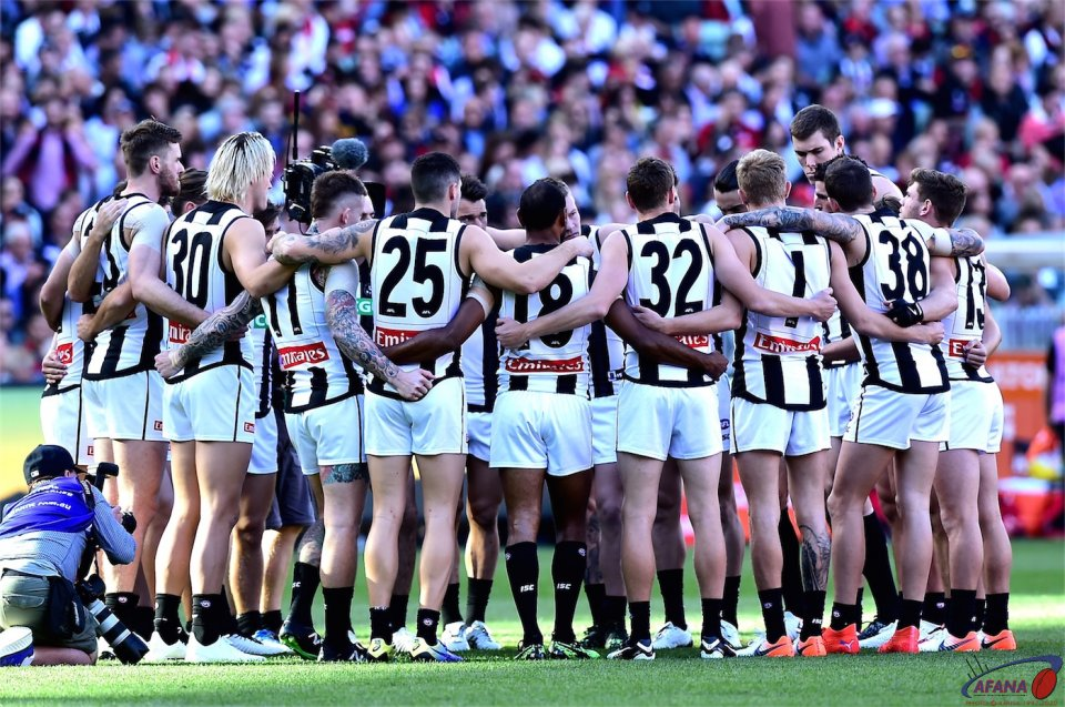 Pies in the huddle.