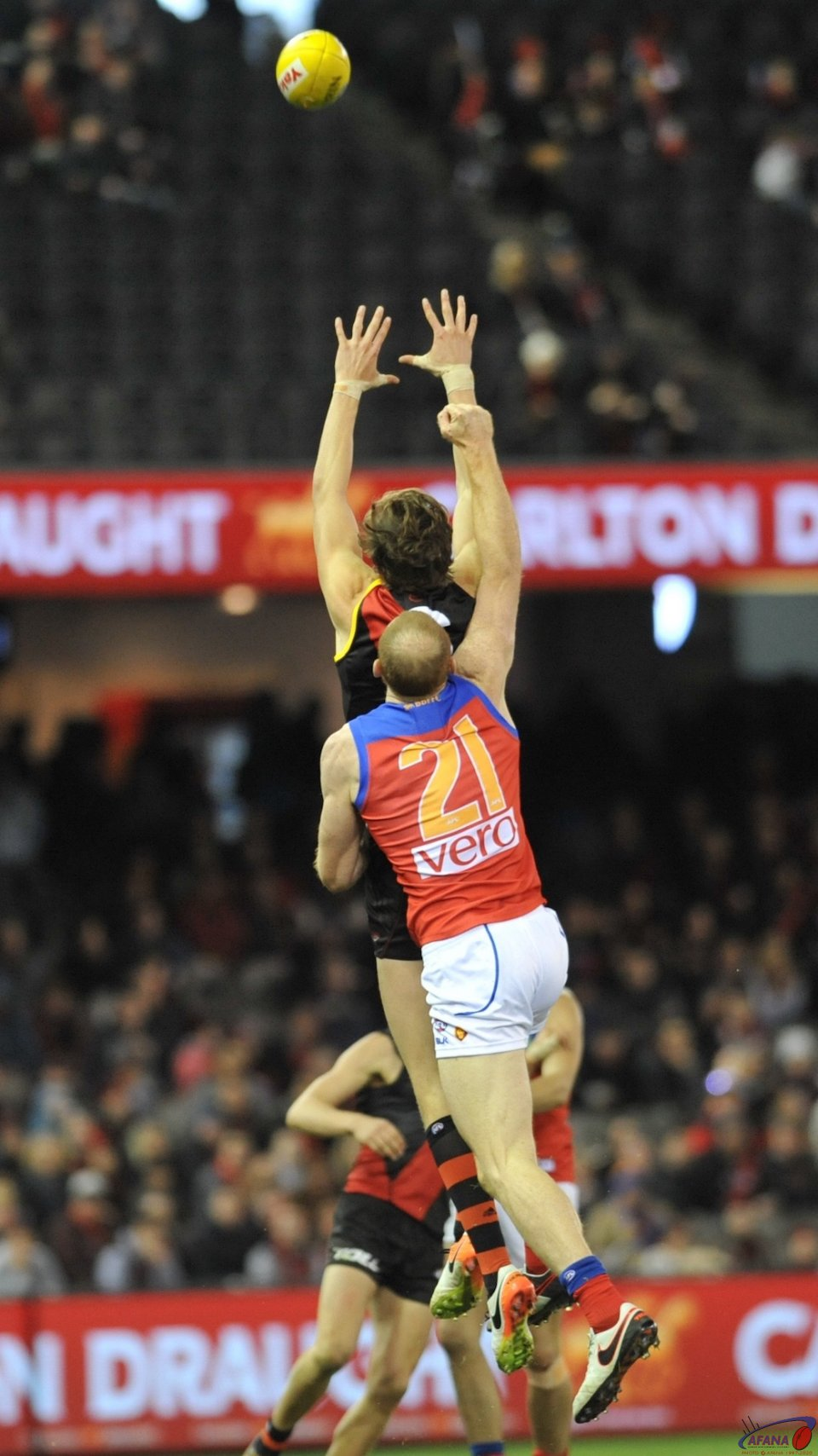 Merrett and Daniher areial duel continued all day