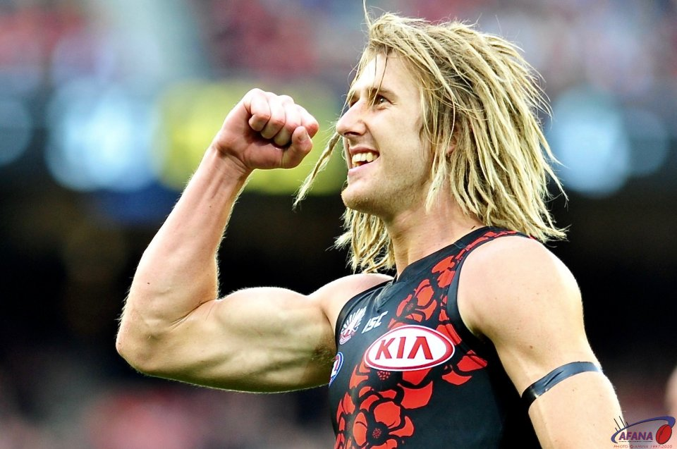 Heppell celebrates a goal and his first ANZAC Day win over the Pies