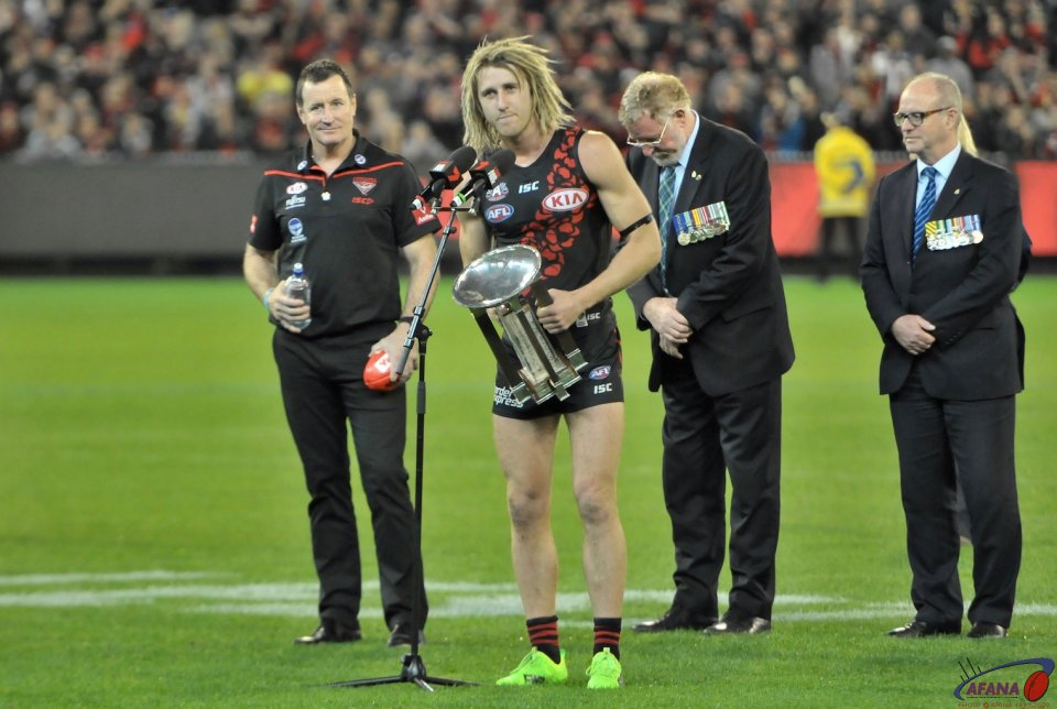 Heppell receives the ANZAC trophy