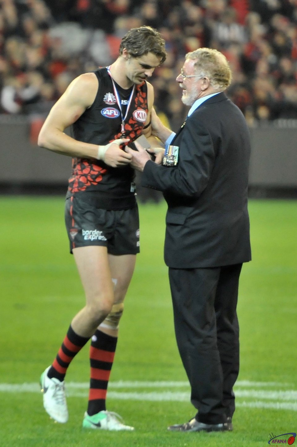 Joe Daniher recives the ANZAC Day medal adjudged BOG