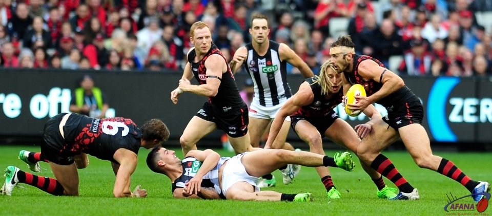 Pendlebury and Daniher down, while Watson, Heppell and Green provide run, carry and spread