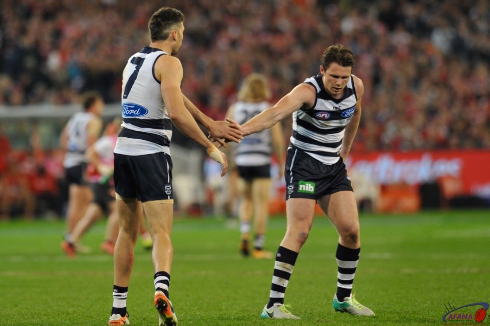 Dangerfield congratulates Taylor on his second goal