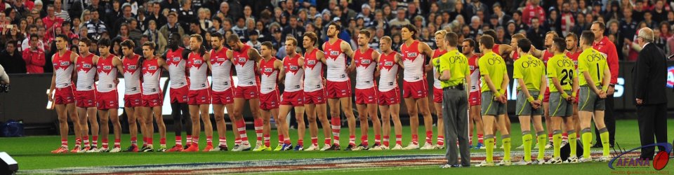 Swans line up for the pre-game ceremony