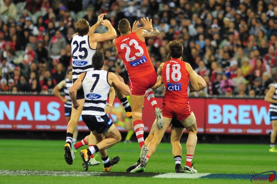 Buddy and Henderson contest an incoming ball into the Cats defence