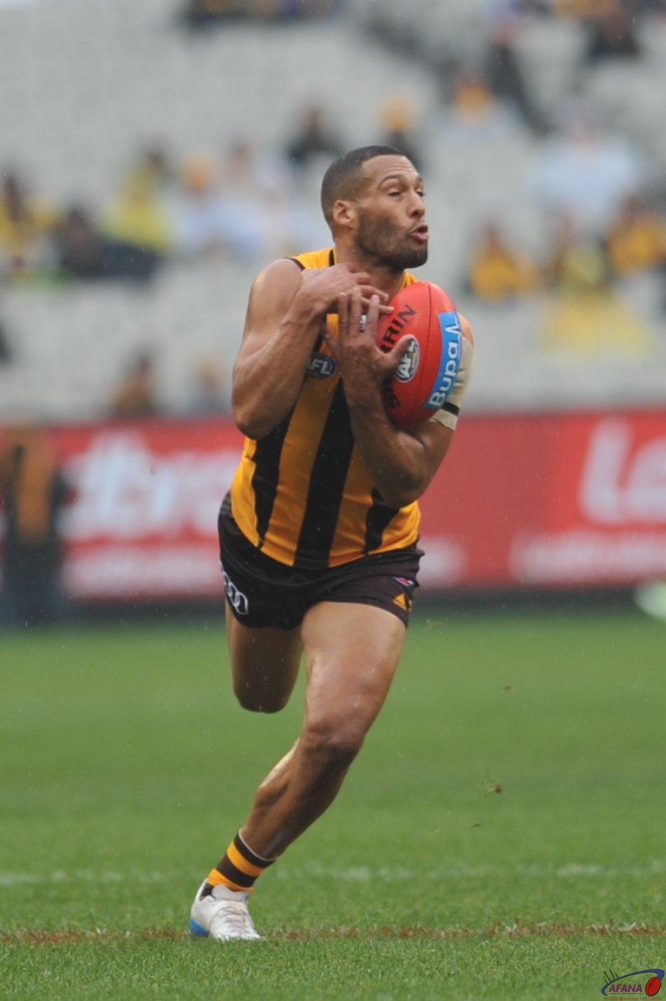 Josh Gibson plays his 200th AFL game for the Hawks at a wet MCG