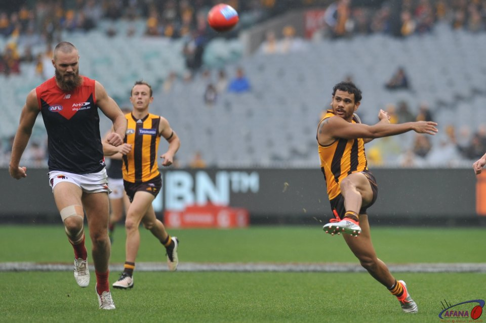 Rioli lets one fly from just inside the 50 metre arc