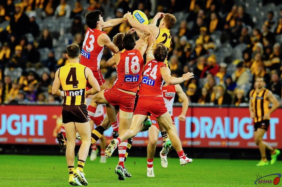 Melican (43) Sinclair (18) and Rampe (24) defend agaisnt McEvoy and O'Brien_4442