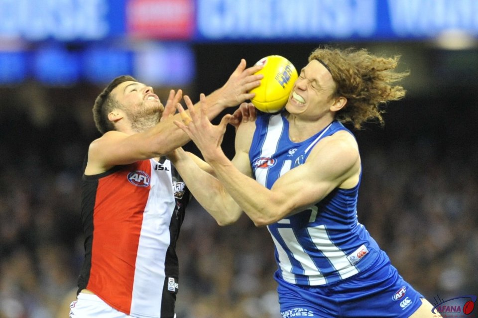 Brown contests the ball in as the Roberton spoils