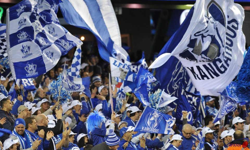 North Melbourne Cheersquad in full cheer