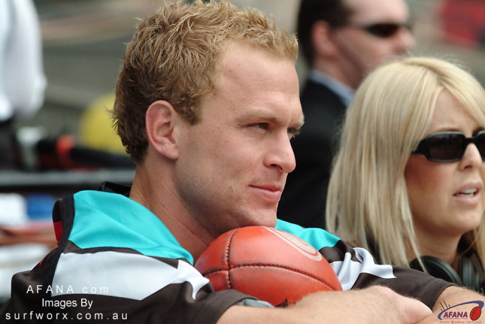 Chad Cornes fo the Power before the team warm-ups.