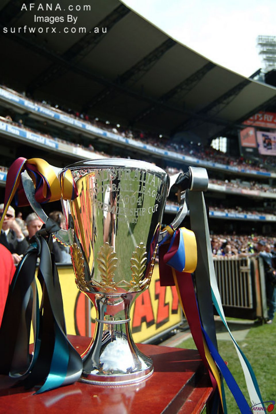 The 2004 AFL Premiership Cup on display.