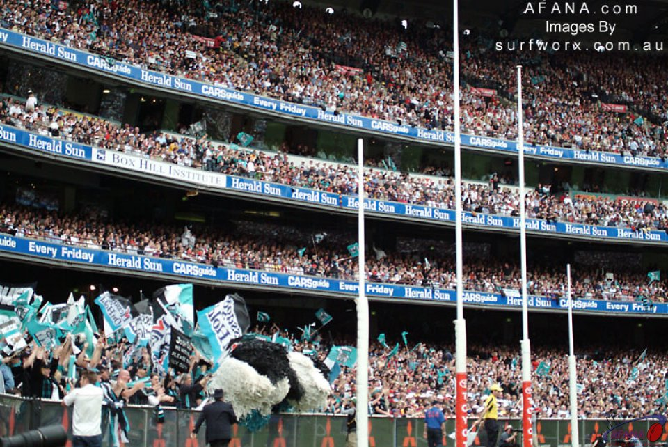 The Port cheer squad at the MCG.