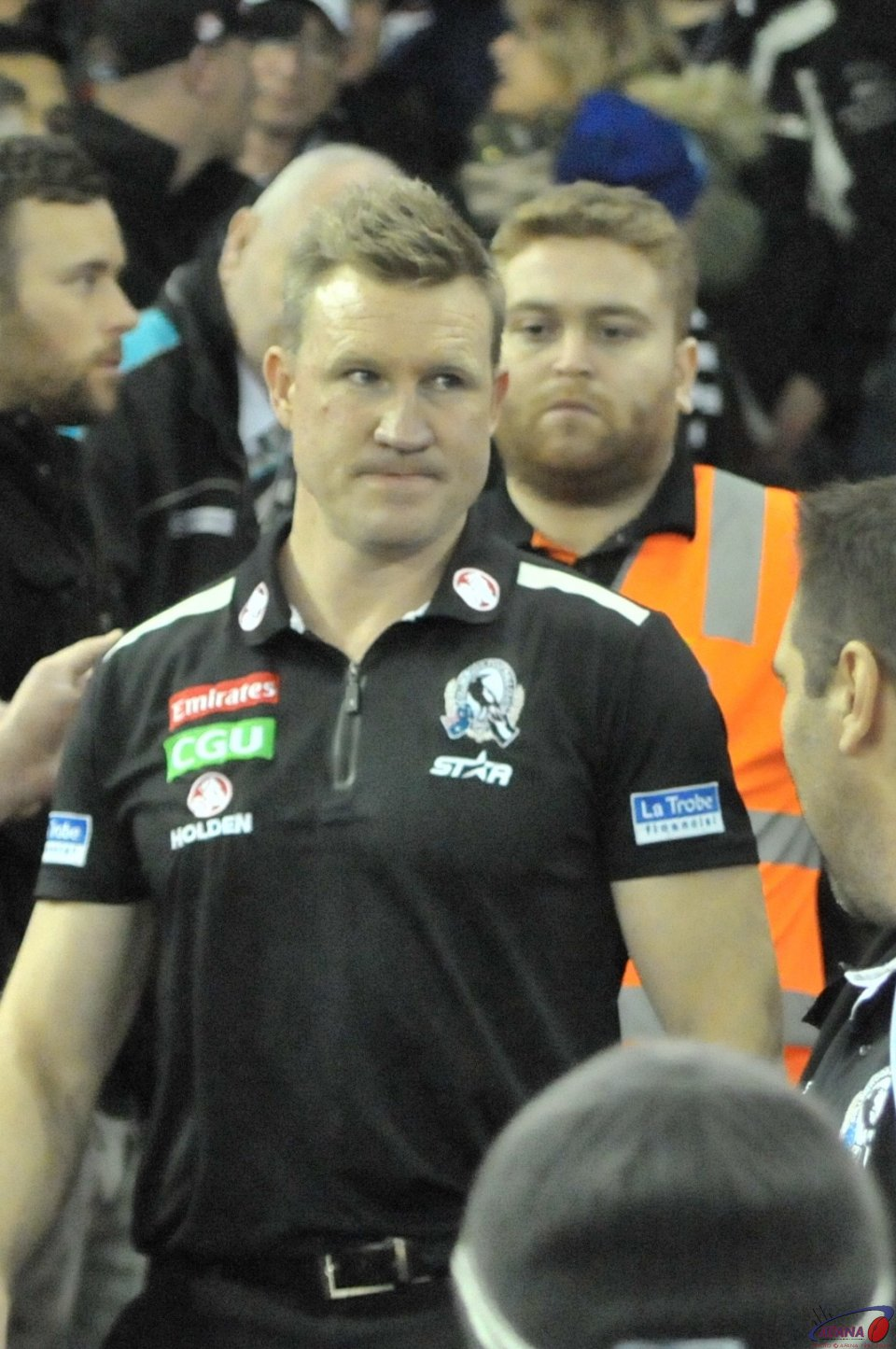 Magpie coach Nathan Buckley is not impressed with the loss