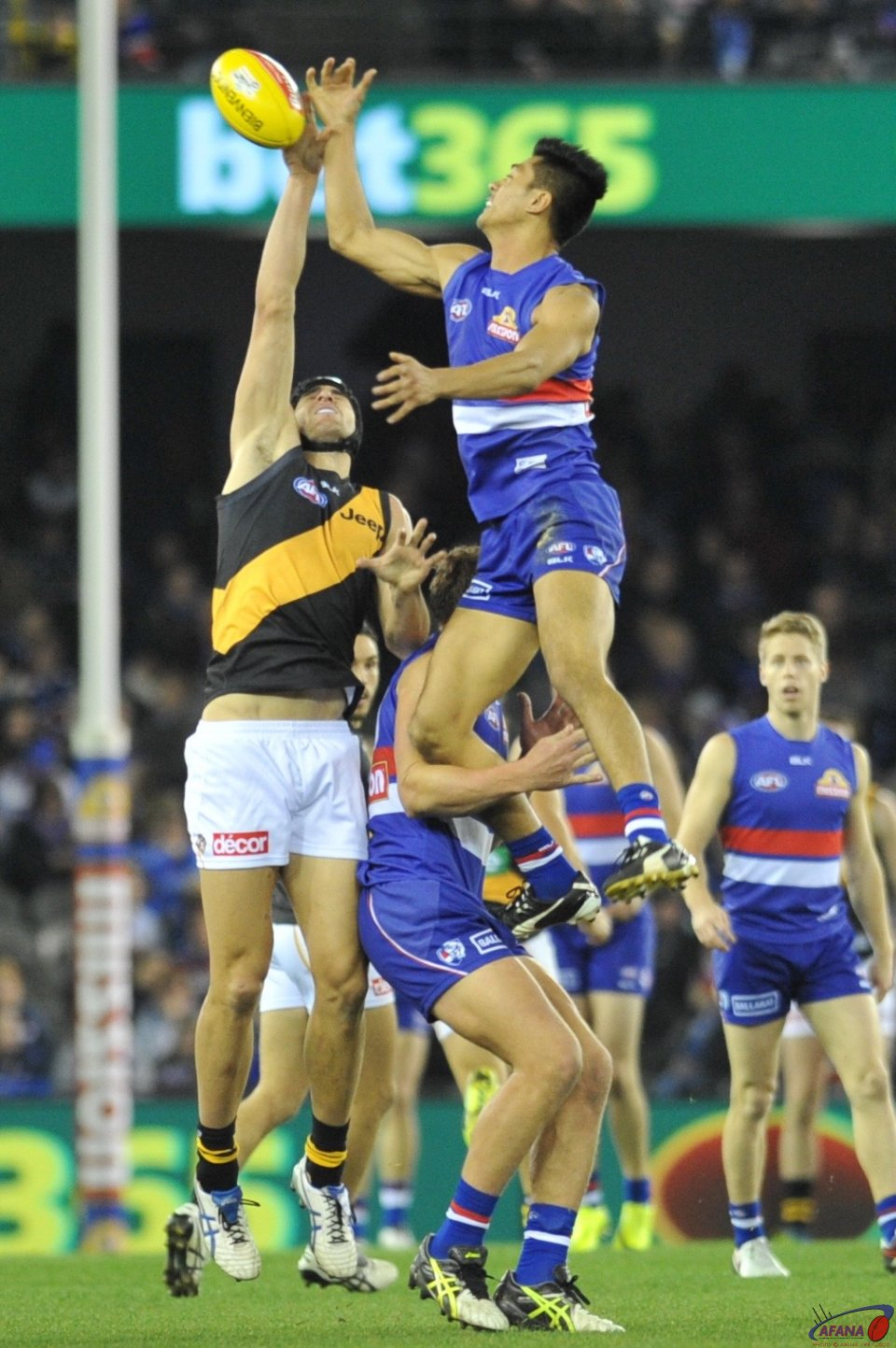 Lin Jong gets serious air against the tall Tigers ruckman