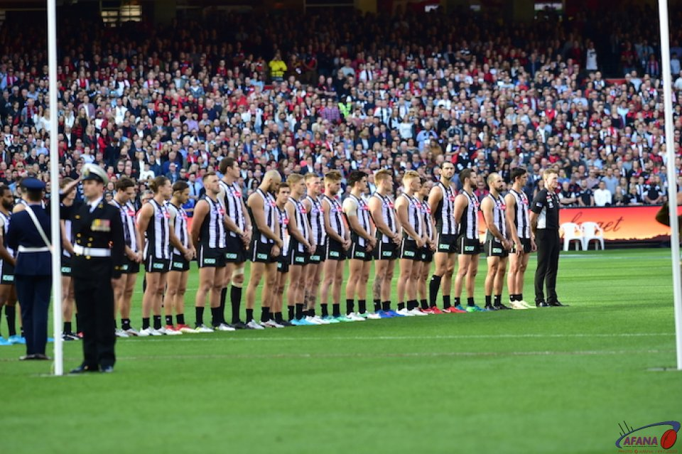 The Magpies line up for the ceremony