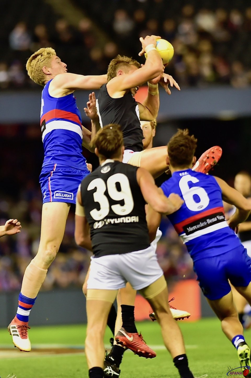 Patrick Cripps taking the first mark in the Blues loss to the Dogs