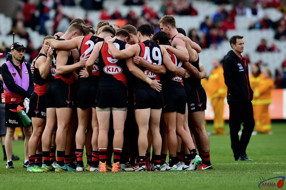 Bombers Huddle pre-match