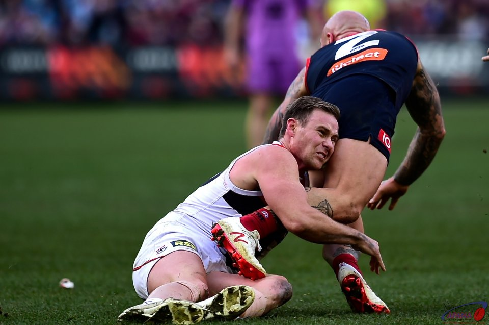 Nathan Jones gets tackled.