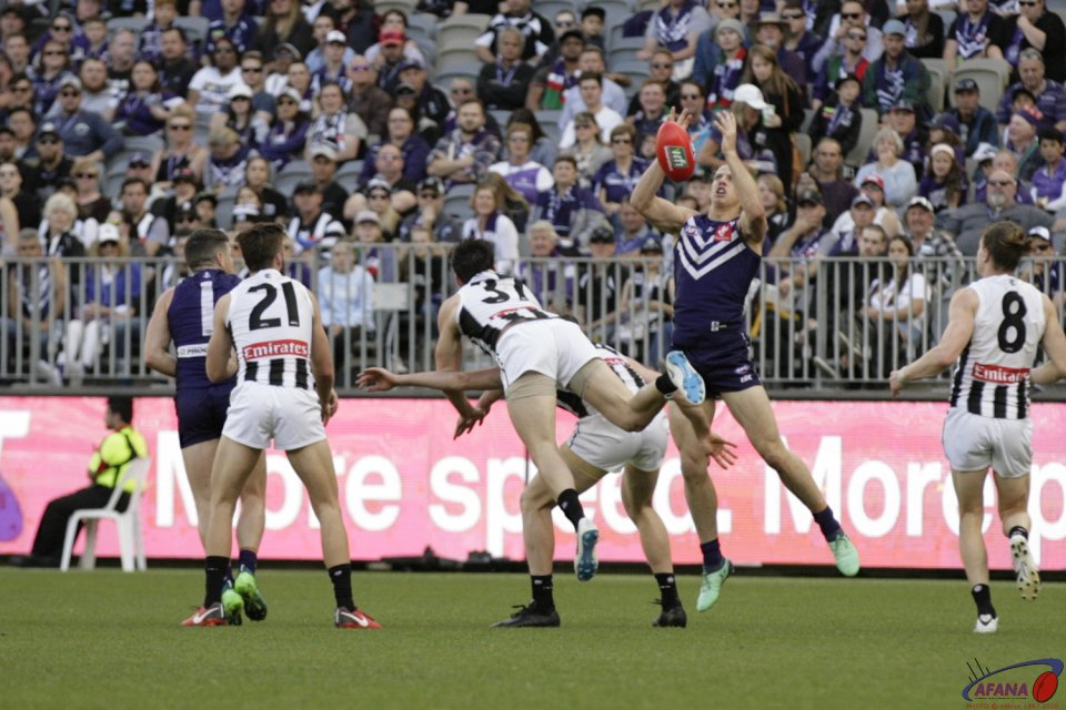 AFL Fremantle v Collingwood, 2018 Optus Stadium.