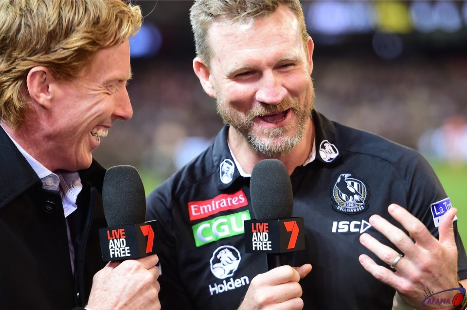 Nathan Buckley and Cameron Ling