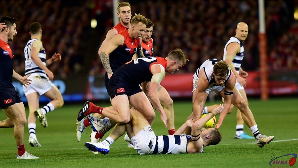 Joel Selwood tackled high.